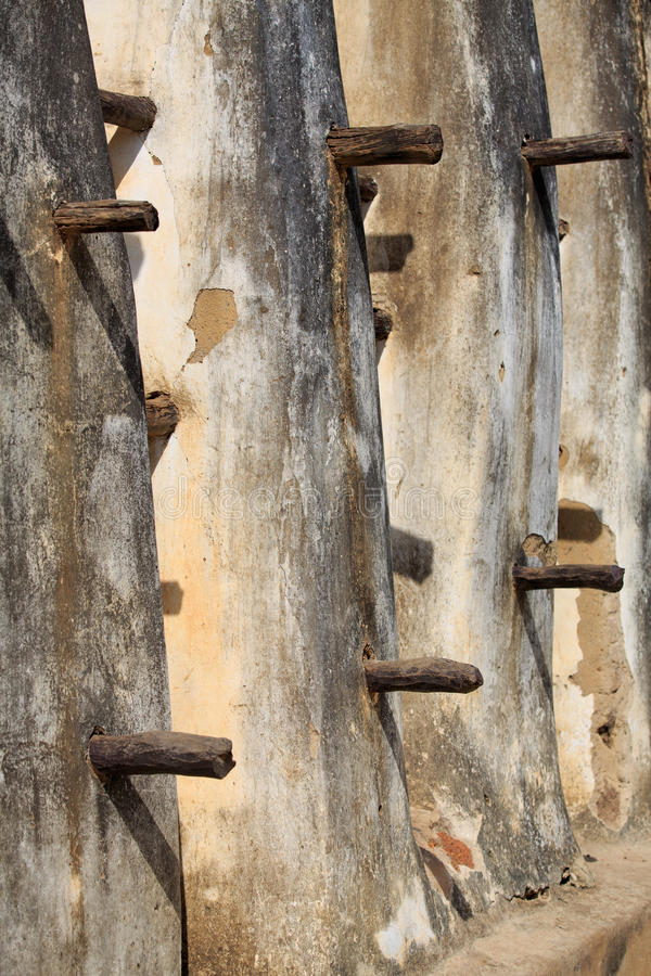 Primer 1 de la pared de la mezquita del fango y del palillo fotografía de archivo libre de regalías