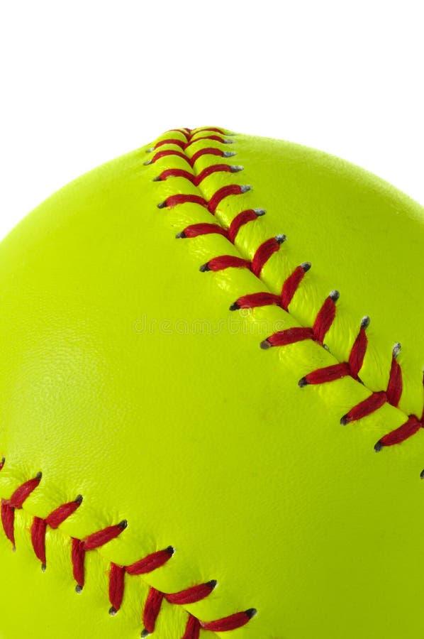 Primer amarillo del beísbol con pelota blanda imagen de archivo libre de regalías