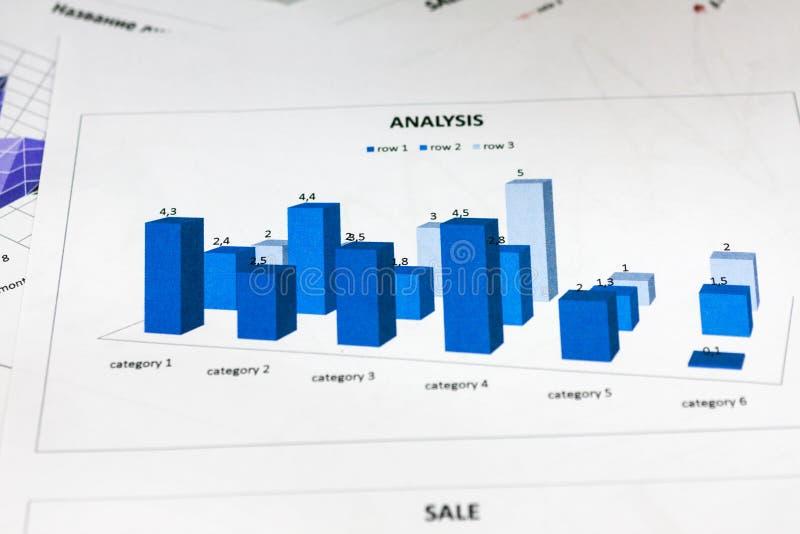 Primer, análisis del informe anual, carta azul imágenes de archivo libres de regalías