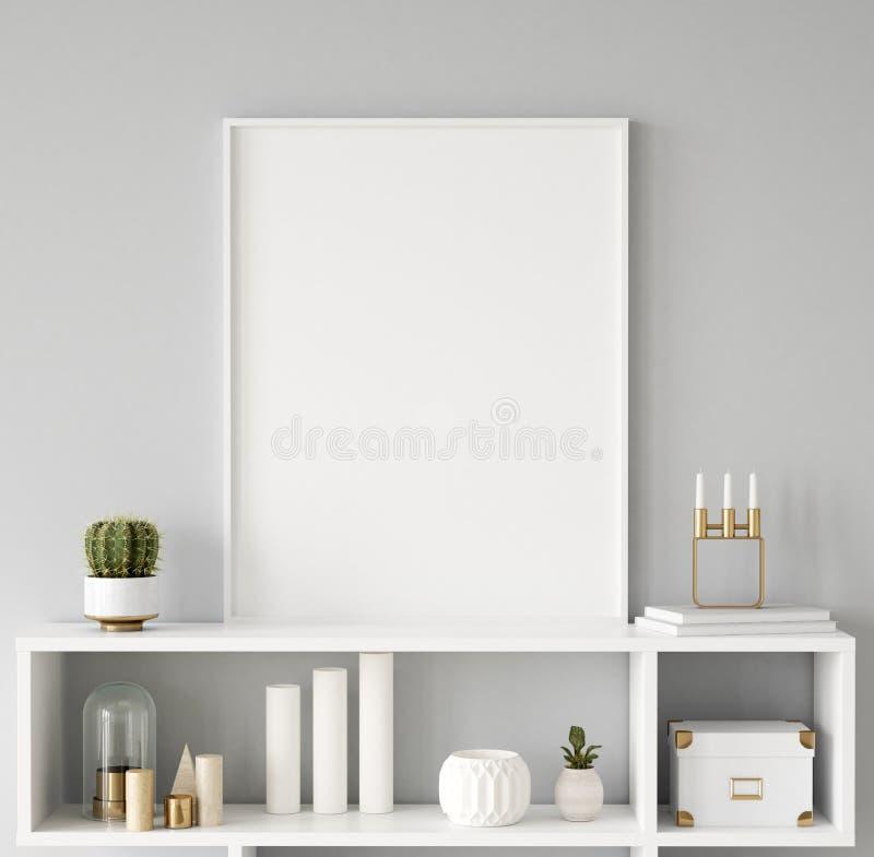 Primer ascendente falso del marco del cartel en el fondo interior, estilo escandinavo imagen de archivo