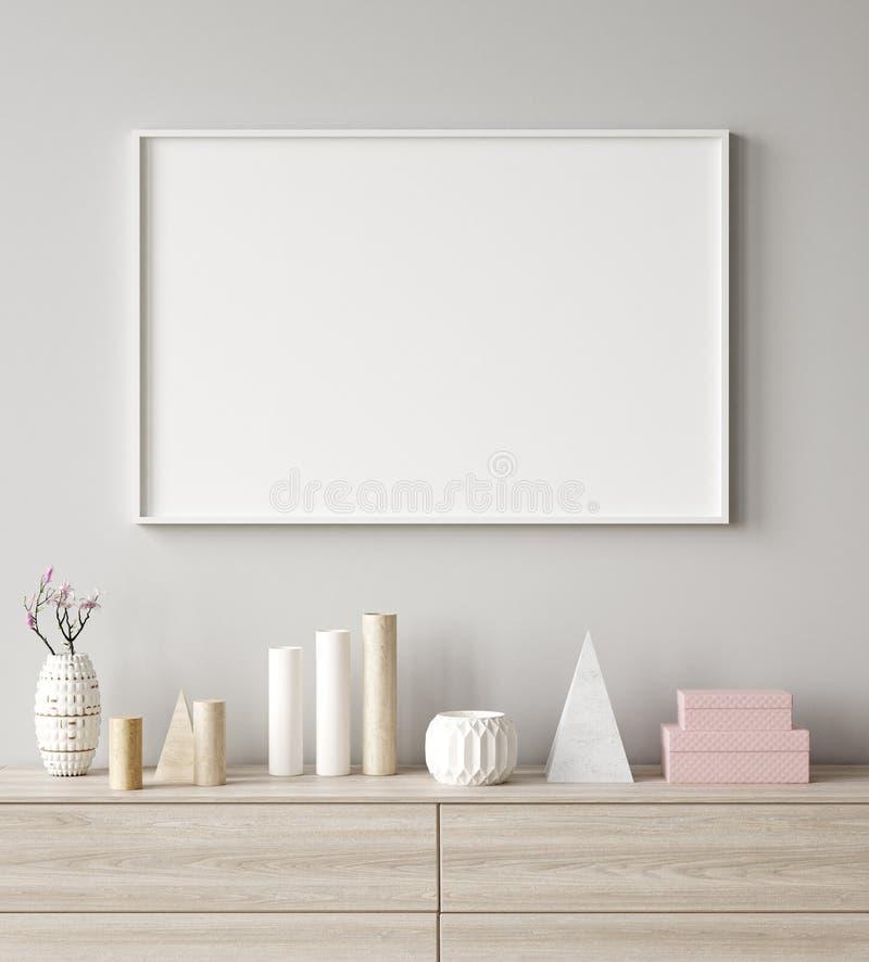 Primer ascendente falso del marco del cartel en el fondo interior, estilo escandinavo imágenes de archivo libres de regalías