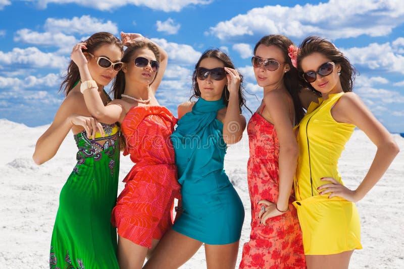 Primer atractivo de cinco muchachas en el partido listo de la nieve foto de archivo libre de regalías