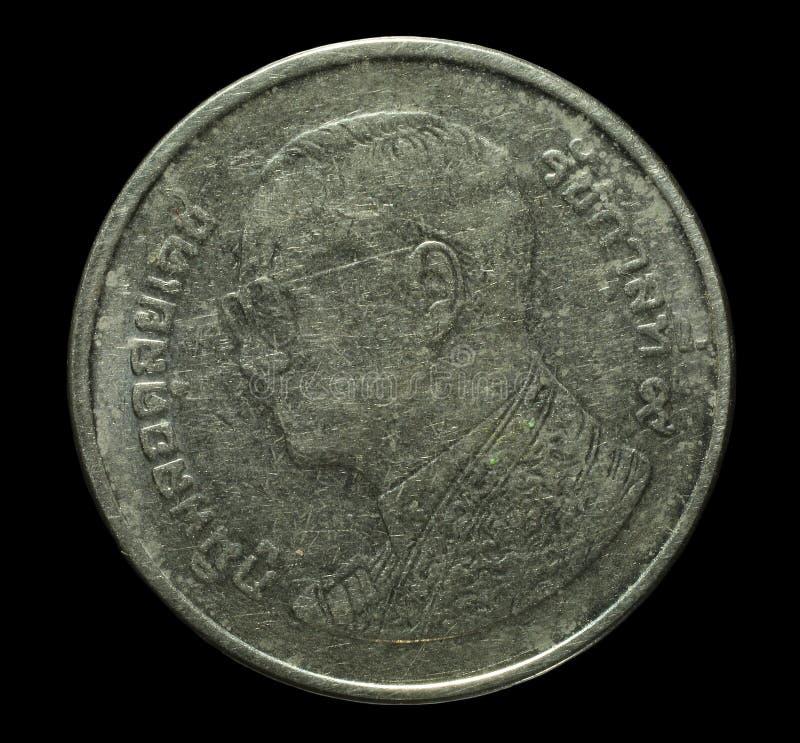 Primer 1 baht - monedas tailandesas fotografía de archivo