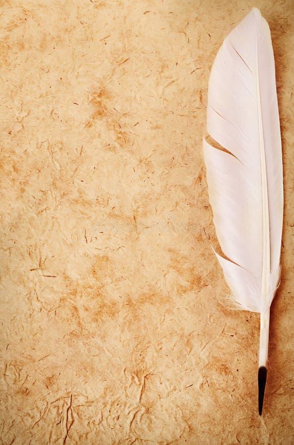 Primer blanco de la pluma de canilla en viejo fondo de papel del vintage Añejo retro imagen de archivo libre de regalías