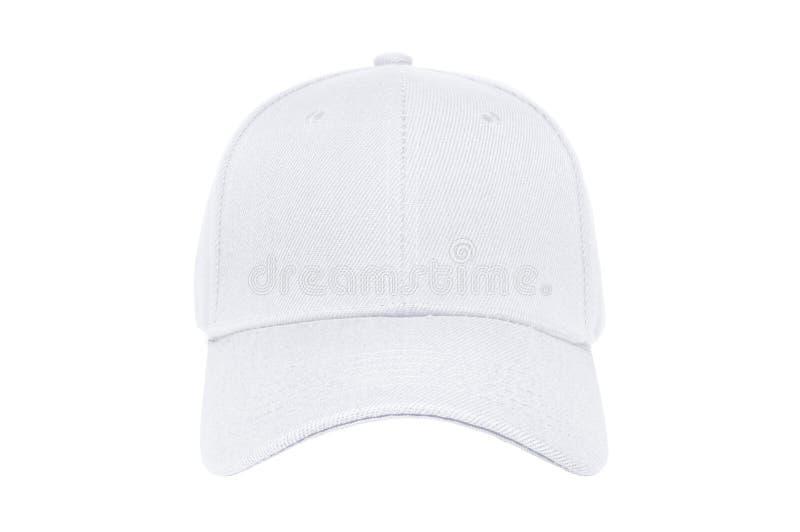 Primer blanco del color de la gorra de béisbol de la vista delantera foto de archivo