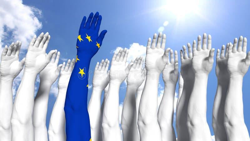 Primer brazo del concepto de Europa pintado como bandera europea stock de ilustración