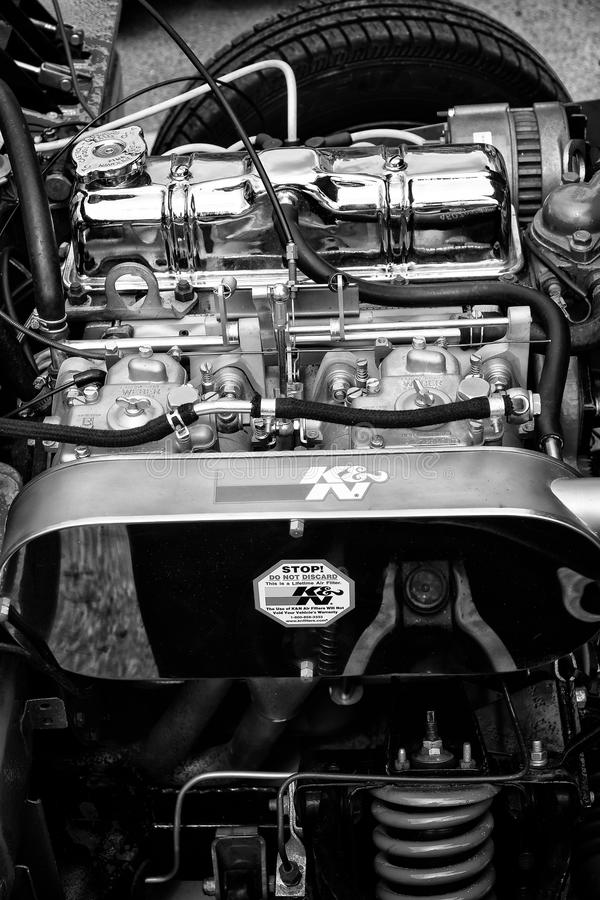 Primer británico 1500 de la fiera de Triumpf del coche de deportes del motor fotos de archivo