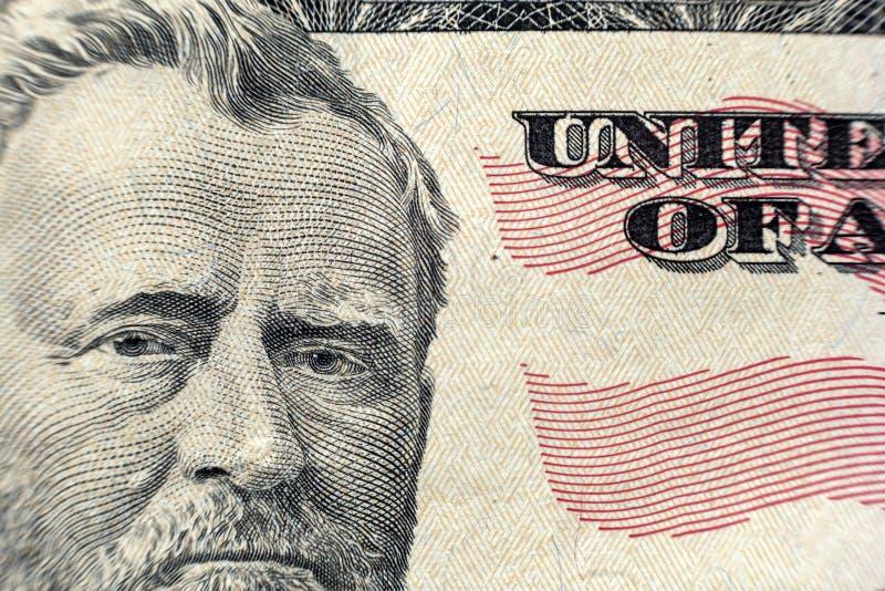 Primer colorido del fondo del dinero Detalles de las cuentas americanas de los billetes de banco de la divisa nacional S?mbolo de fotos de archivo libres de regalías