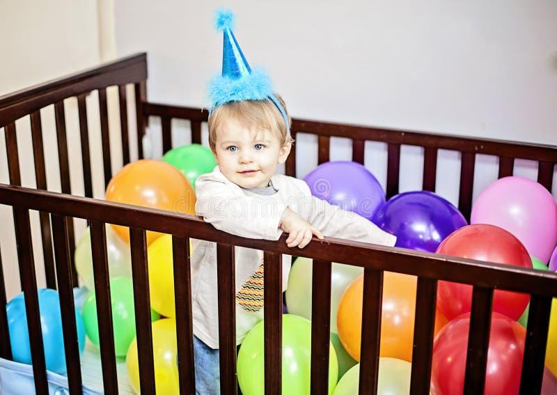 Primer cumpleaños del bebé imagenes de archivo