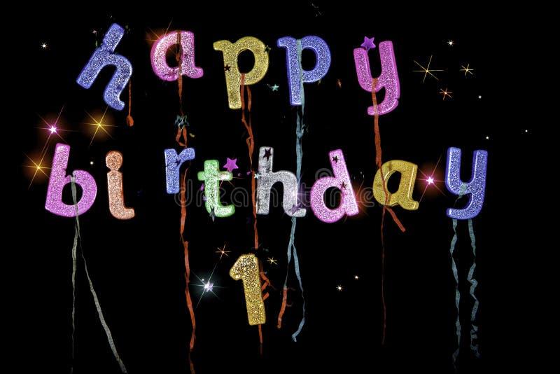 Primer cumpleaños feliz imagen de archivo libre de regalías