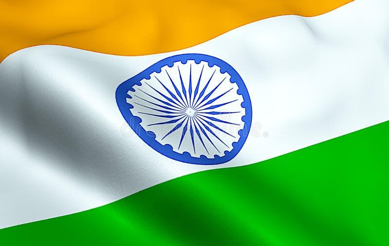 Primer de agitar la bandera de la India, con la rueda azul, símbolo nacional de hindú indio ilustración del vector