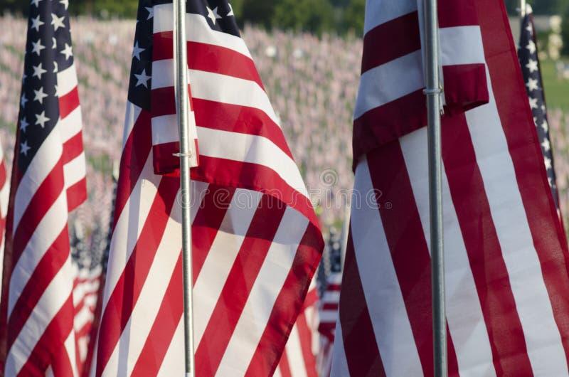 Primer de banderas americanas imagen de archivo