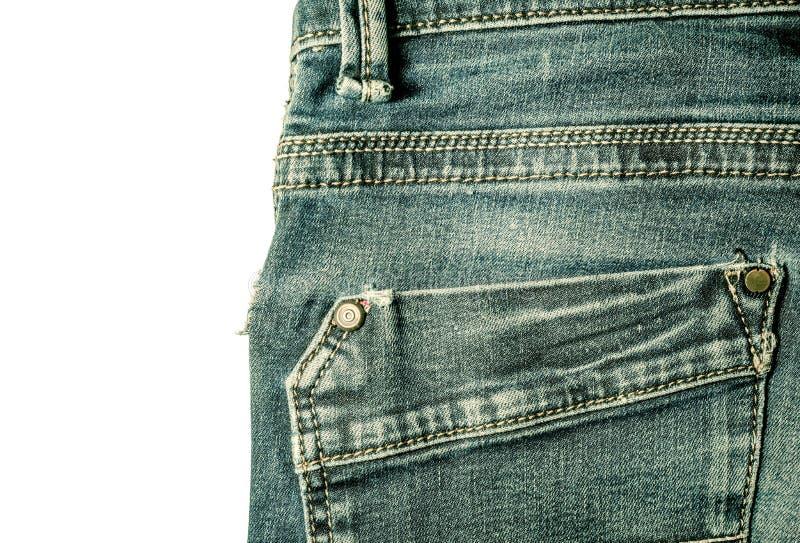 Primer de costura del estilo del vintage de los tejanos del bolsillo trasero aislado fotos de archivo