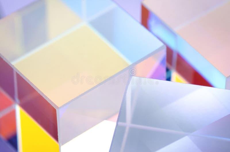 Primer de cristal coloreado extracto de los cubos imágenes de archivo libres de regalías