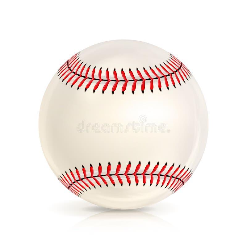 Primer de cuero de la bola del béisbol aislado en blanco Icono realista del béisbol Ilustración del vector stock de ilustración
