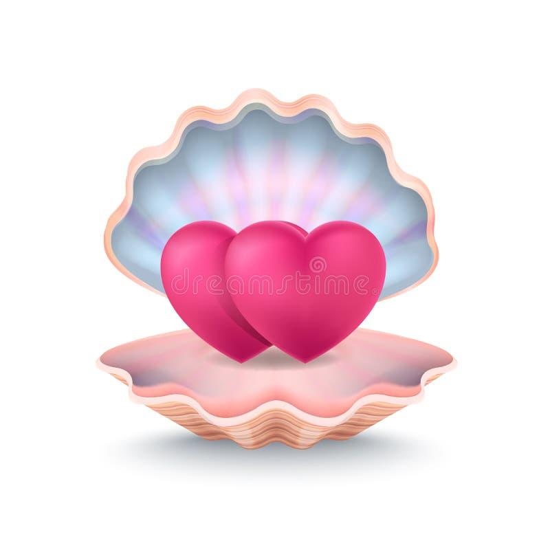 Primer de dos corazones, Shell Vector Illustration ilustración del vector