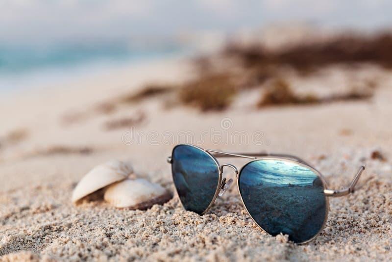 Primer de gafas de sol azules en la playa tropical fotos de archivo