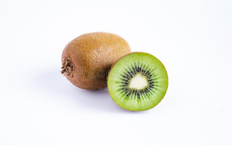 Primer de Kiwi Fruits On White Background imagen de archivo