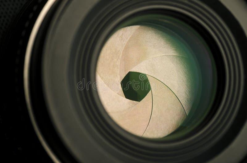 Primer de la abertura de lente de cámara foto de archivo libre de regalías