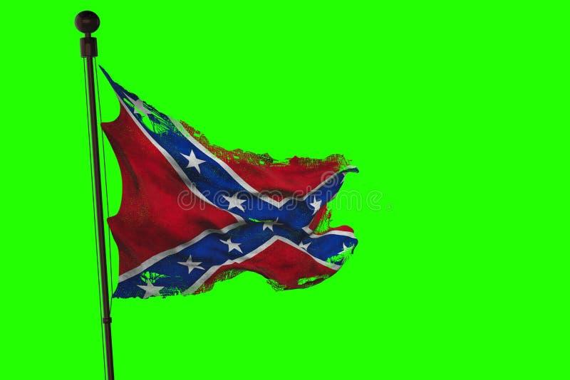 Primer de la bandera confederada que agita vieja rasgada del grunge del rasgón de los estados nacionales de América nosotros, sím ilustración del vector