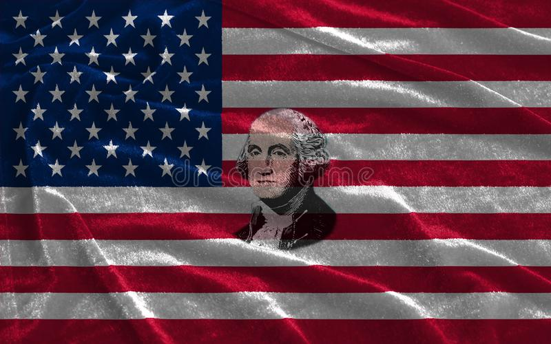 Primer de la bandera de los Estados Unidos de América con el retrato George Washington stock de ilustración