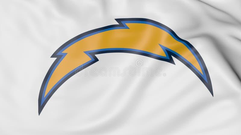Primer de la bandera que agita con el logotipo americano del equipo de fútbol del NFL de los cargadores de Los Ángeles, represent ilustración del vector