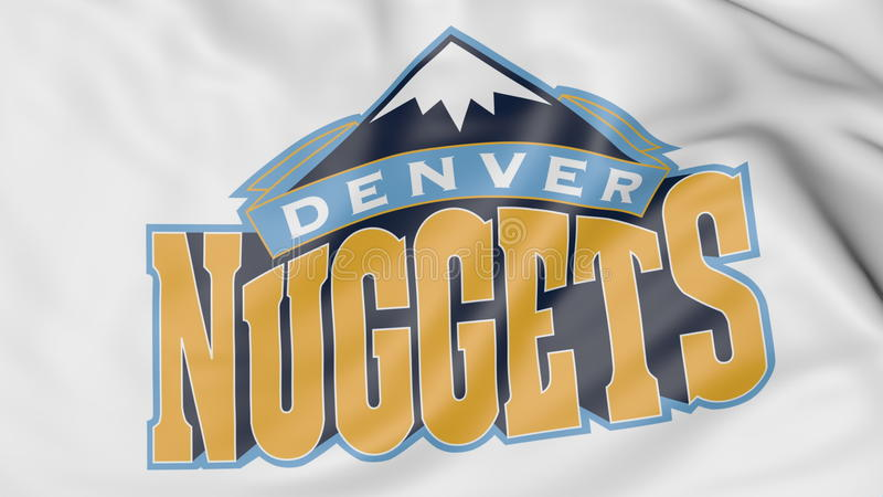 Primer de la bandera que agita con el logotipo del equipo de baloncesto de NBA de Denver Nuggets, representación 3D ilustración del vector