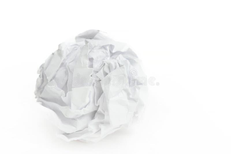 Primer de la bola de papel arrugada foto de archivo libre de regalías