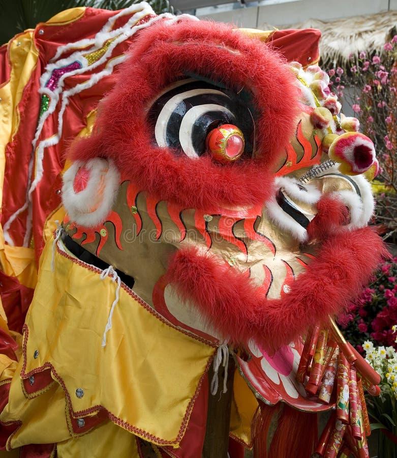 Primer de la cabeza china del dragón fotos de archivo