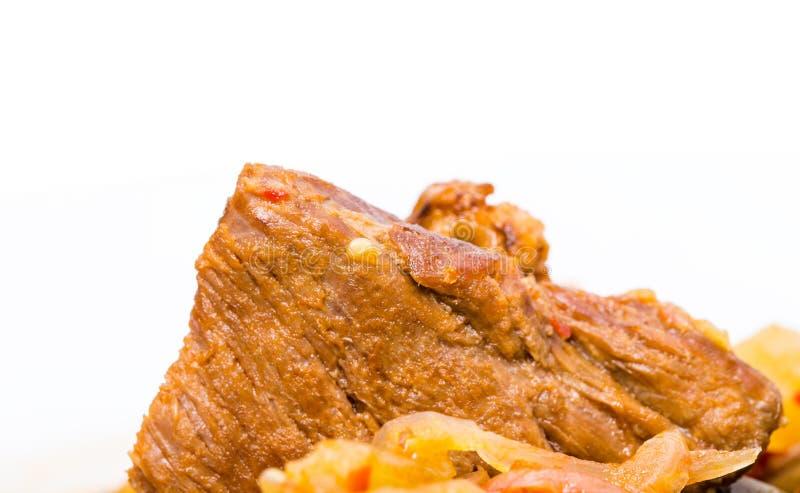 Primer de la carne de cerdo guisada deliciosa imagen de archivo