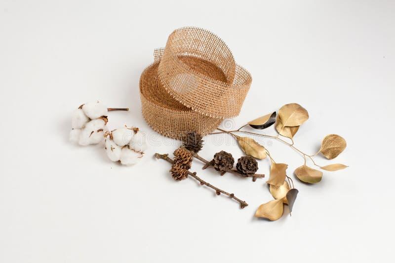 Primer de la composición de la Navidad del algodón, fondo foto de archivo libre de regalías