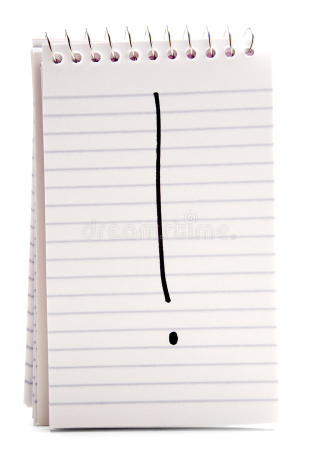 Primer de la exclamación en el cuaderno foto de archivo