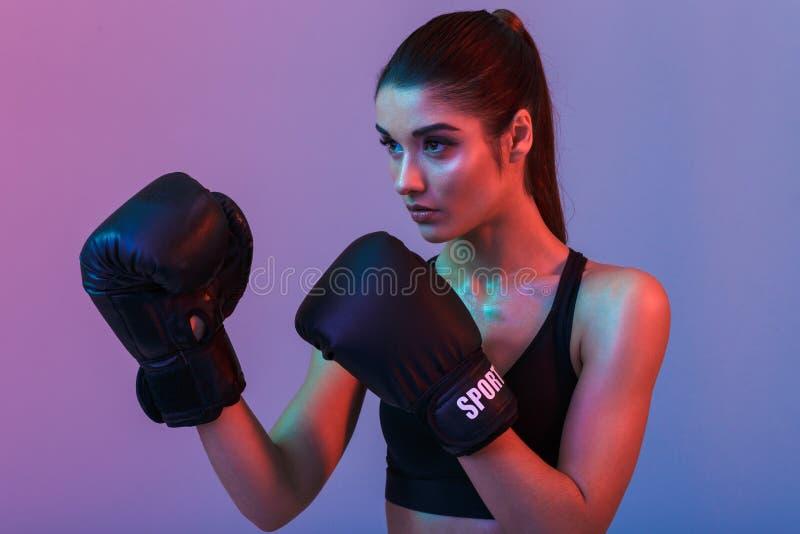 Primer de la foto de la mujer fuerte enfocada 20s en el boxeo juguetón del sujetador imagen de archivo