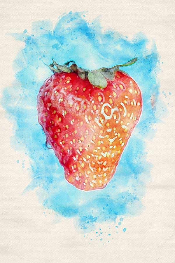 Primer de la fresa madura con el fondo azul stock de ilustración