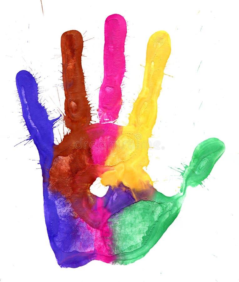 Primer de la impresión coloreada de la mano en el fondo blanco fotos de archivo