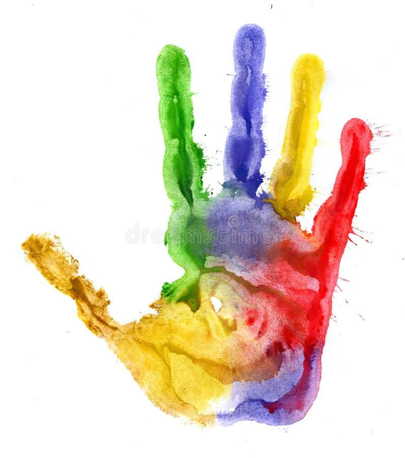 Primer de la impresión coloreada de la mano en el fondo blanco imagenes de archivo
