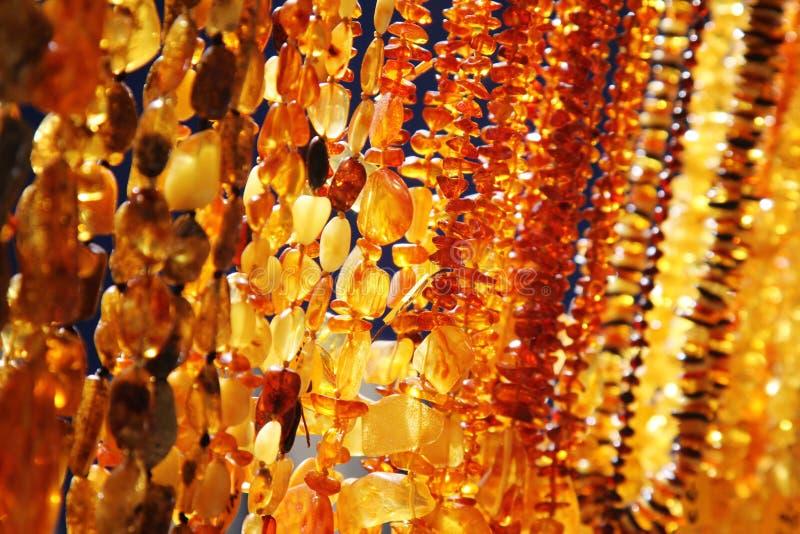 Primer de la joyería ambarina imagen de archivo libre de regalías