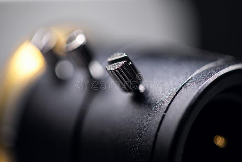 Primer de la lente de la cámara de vídeo Supervisión las veinticuatro horas del día imagenes de archivo