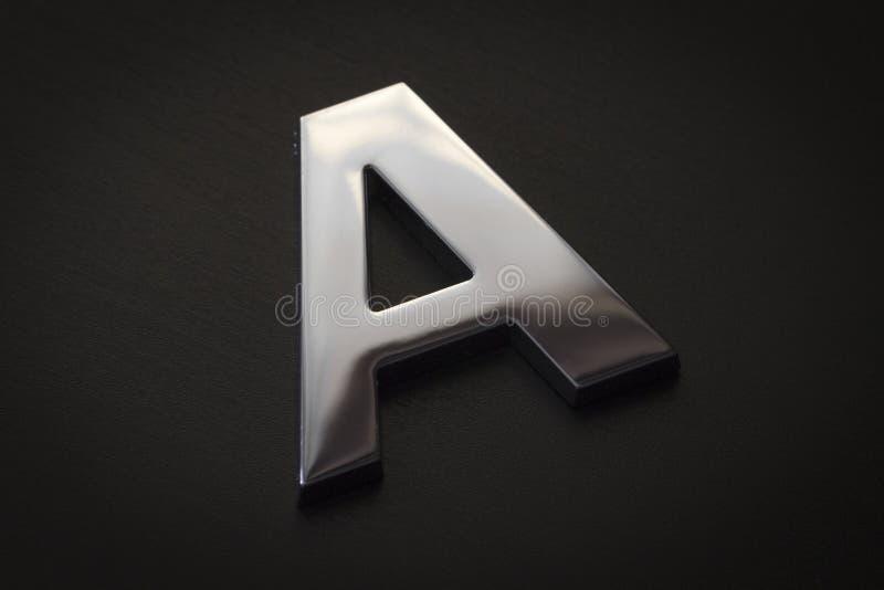 Primer de la letra A de Chrome imagen de archivo