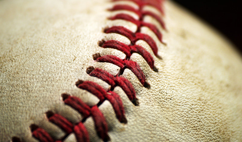Primer de la macro del béisbol imagenes de archivo