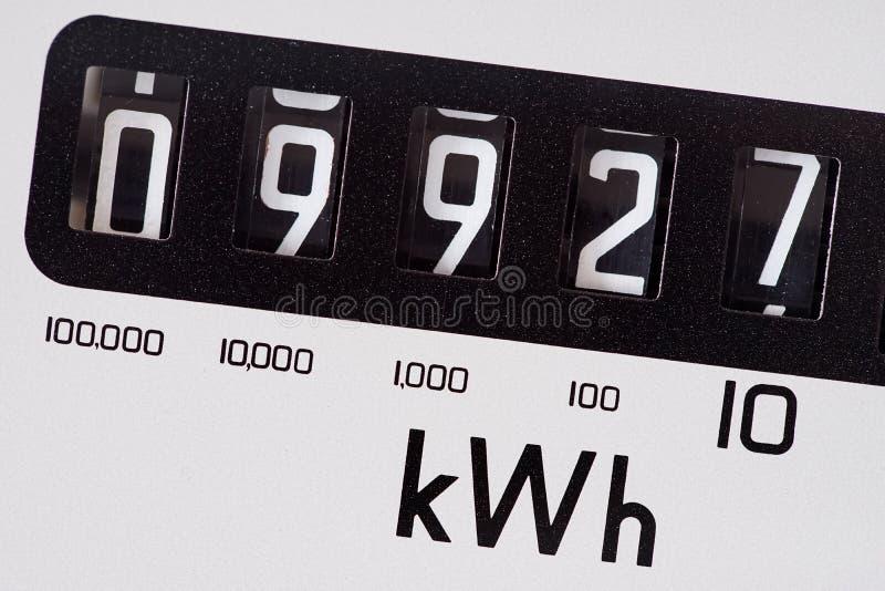 Primer de la macro del dial del metro eléctrico del kilovatio fotografía de archivo libre de regalías