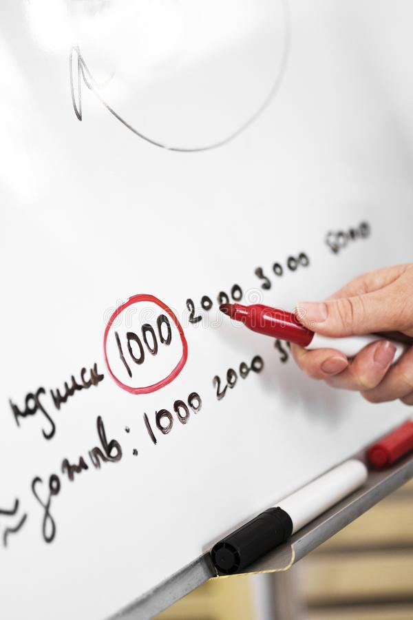 Primer de la mano con el gr?fico del dibujo del marcador en el tablero blanco de la oficina Hombres de negocios del analytics de  imágenes de archivo libres de regalías