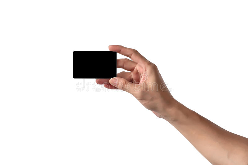 Primer de la mano del hombre que lleva a cabo la tarjeta o el negocio de crédito vacía en blanco imagenes de archivo