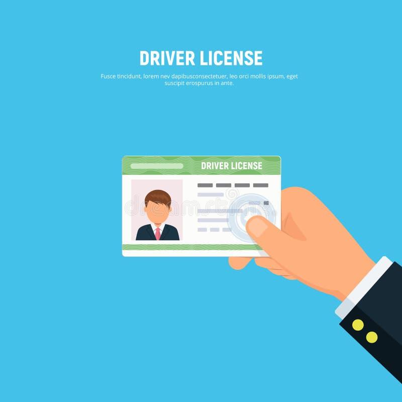 Primer de la mano de la persona que lleva a cabo el carné de conducir tarjeta de la identificación del conductor con la foto ilustración del vector