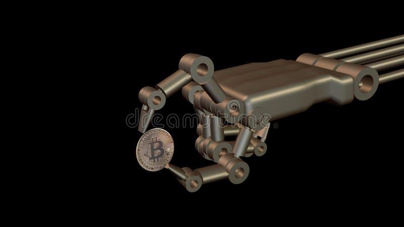 Primer de la mano robótica que muestra la moneda de Bitcoin representación 3d imagen de archivo