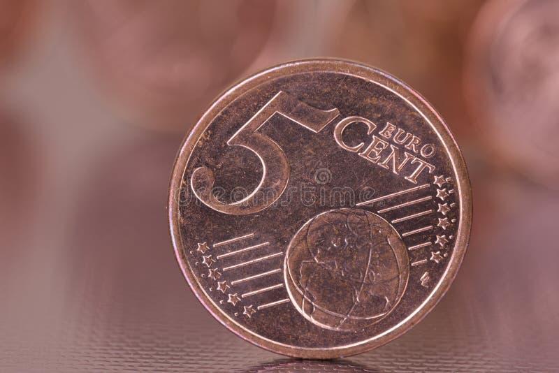 primer de la moneda del centavo euro 5 imagen de archivo libre de regalías