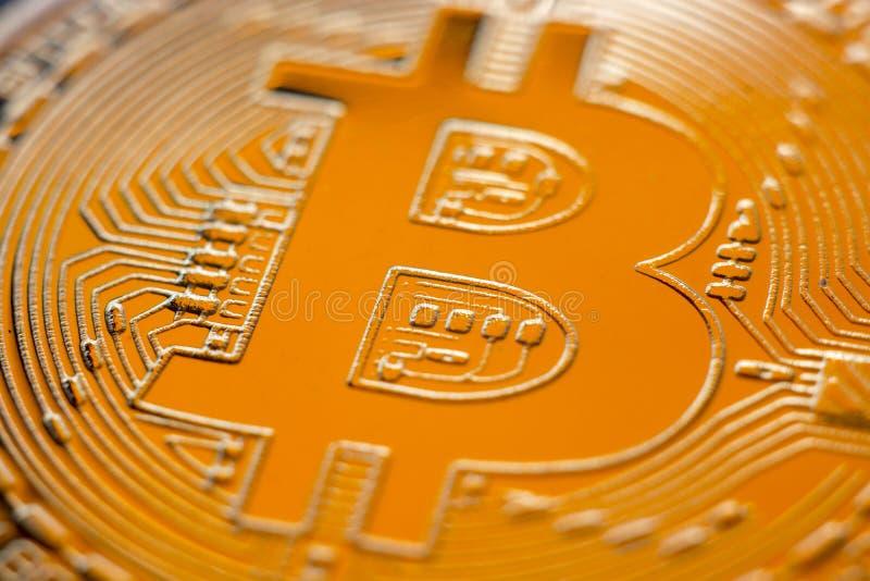 Primer de la moneda de la moneda del monet de Bitcoin imágenes de archivo libres de regalías