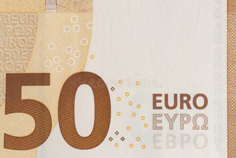 Primer de la moneda europea - cuentas del euro 50 imagen de archivo libre de regalías
