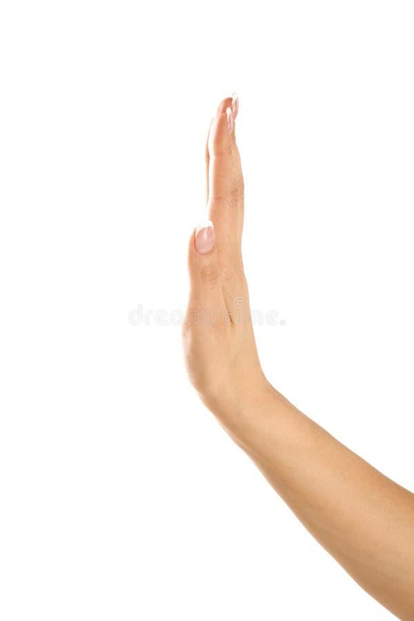 Primer de la muestra o de pedir ascendente de la parada de la mano adolescente femenina foto de archivo libre de regalías