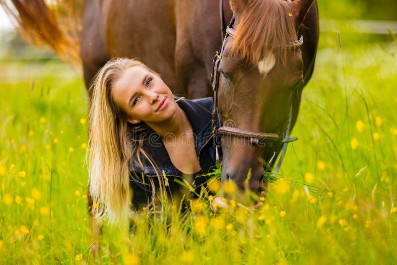 Primer de la mujer que alimenta su caballo árabe con bocados en prado idílico foto de archivo libre de regalías